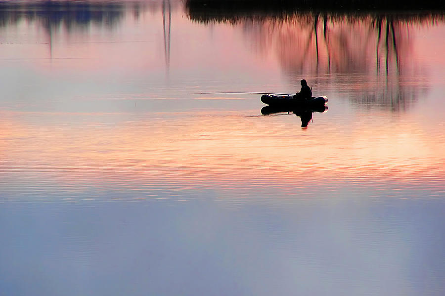 Sunset Fishing Photograph by Cimmerian