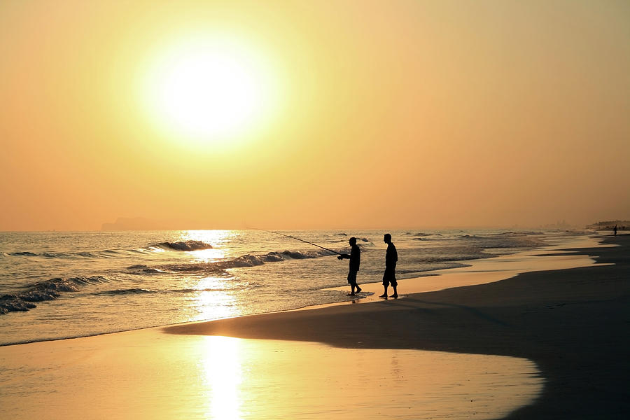 Sunset Fishing, Salalah, Oman Photograph by Blue64
