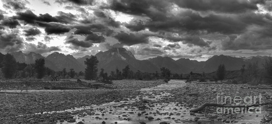 Sunset Fire Over Spread Creek Black And White by Adam Jewell