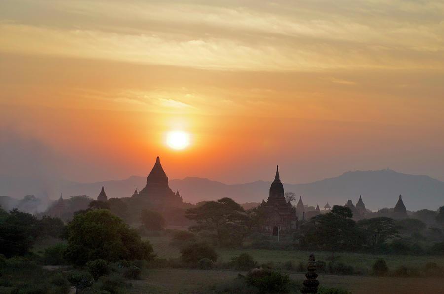 Sunset From Atop The Shwesandaw Paya Photograph by Jim Simmen