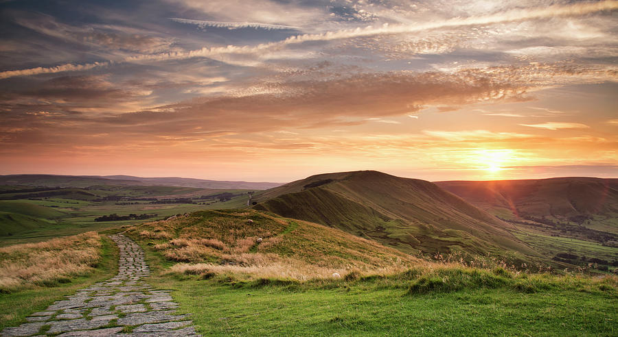 Sunset From Mam Tor, Peak District Photograph by Verity E. Milligan