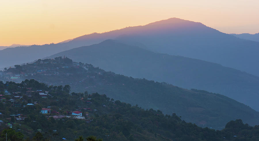 sunset from Mindat, Chin State, Burma Photograph by Ann Moore