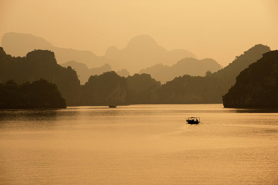 Sunset, Halong Bay, Vietnam Photograph by Yellow Dog Productions
