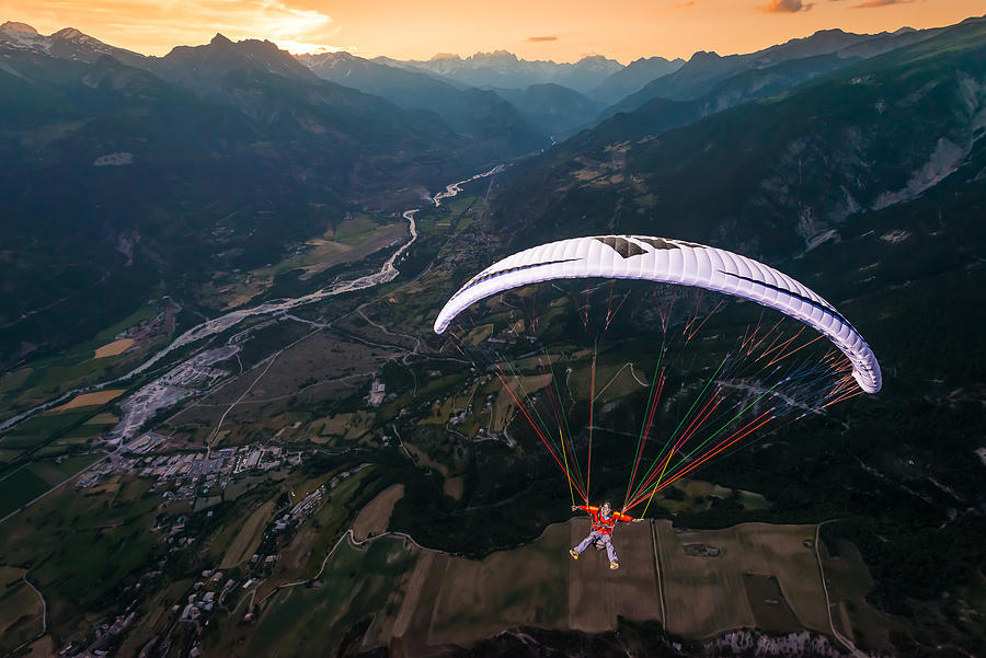 Action Photograph - Sunset High Flying With Jean-baptiste Chandelier by Tristan Shu