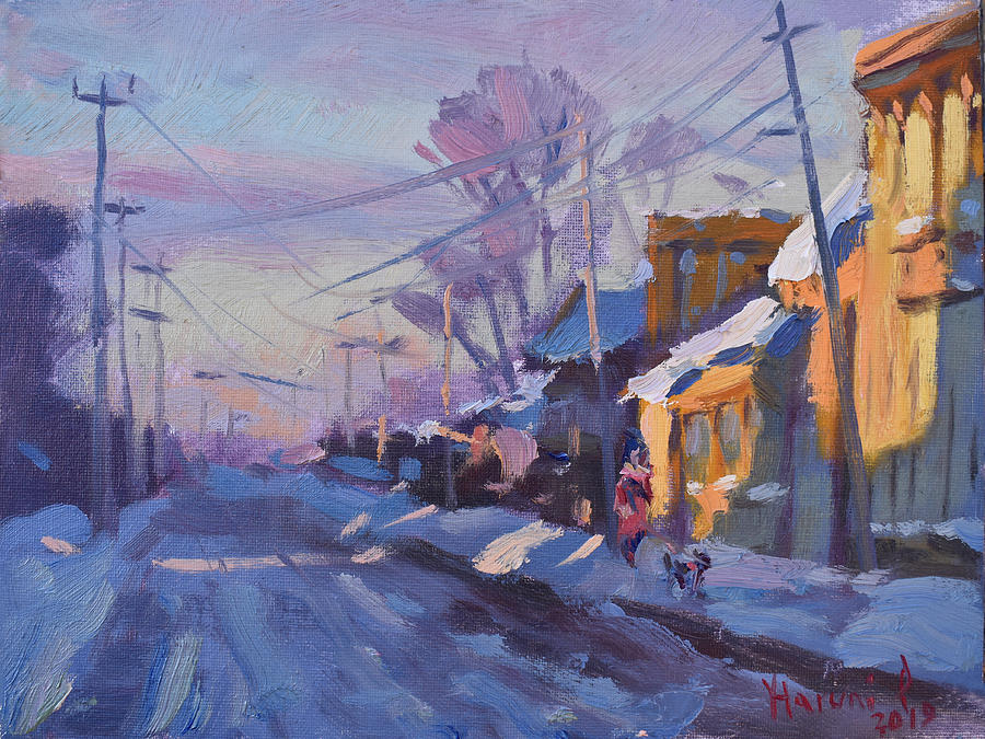 Snow Painting - Sunset In A Snowy Street by Ylli Haruni