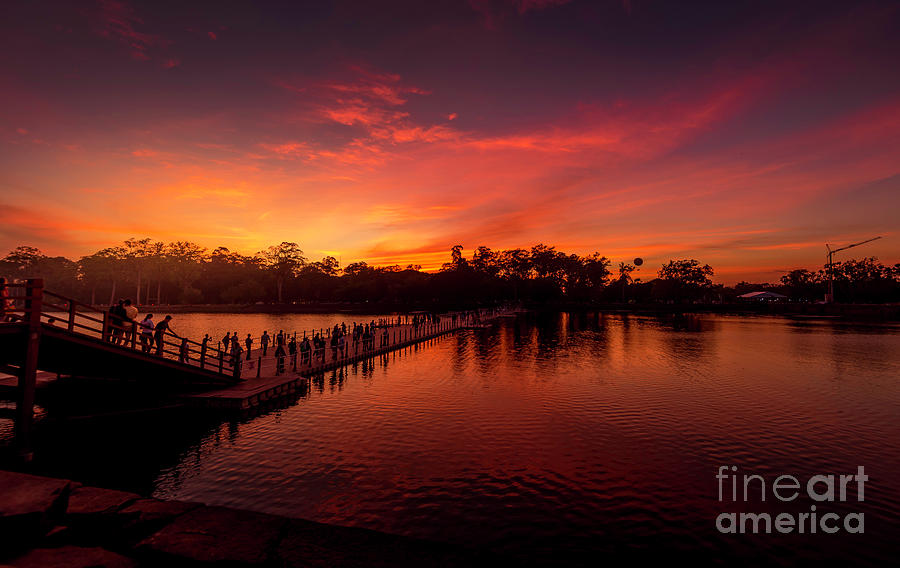 Sunset Photograph - Sunset In Angkor by Pravine Chester
