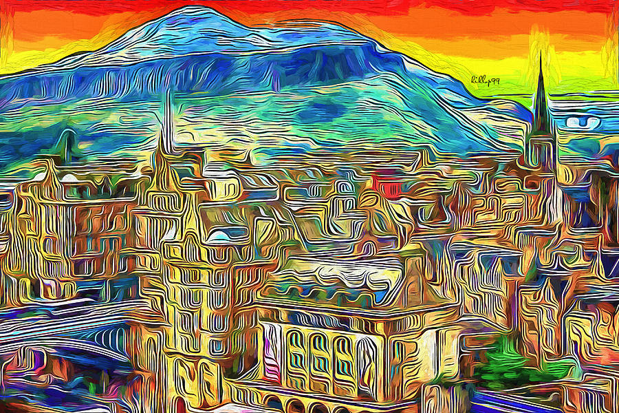 Sunset In Edinburgh Scotland Painting