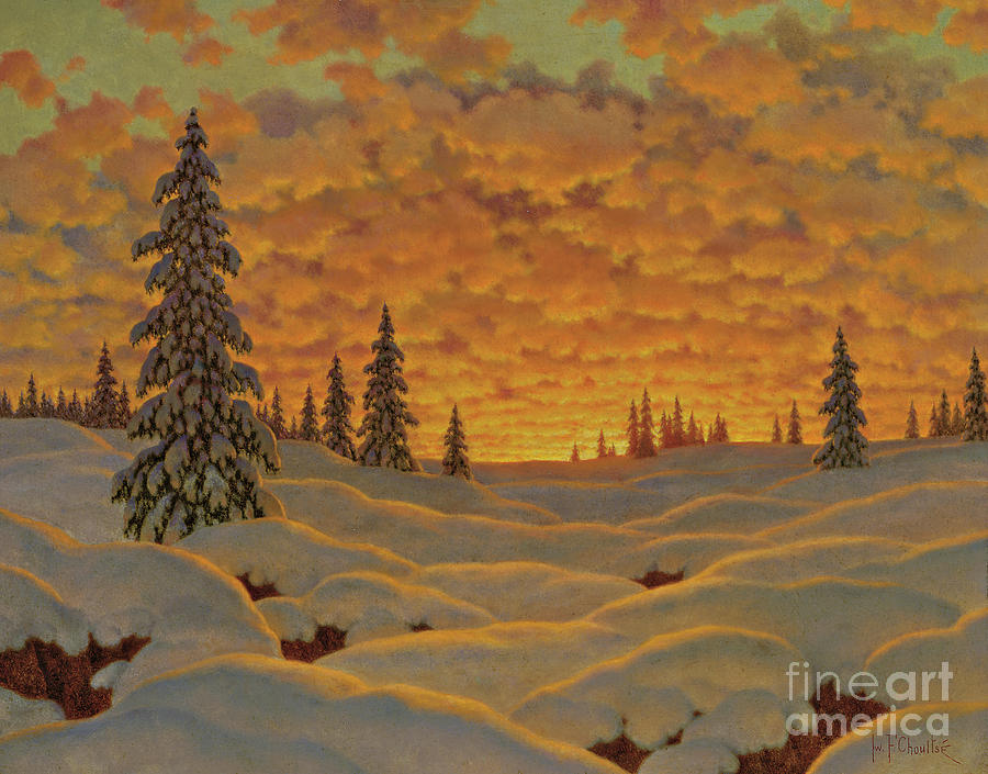 Finnish Painting - Sunset In Finland  by Ivan Fedorovich Choultse