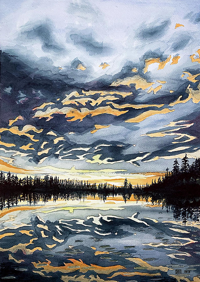 Finland Drawing - Sunset in Finland by Sami Matilainen