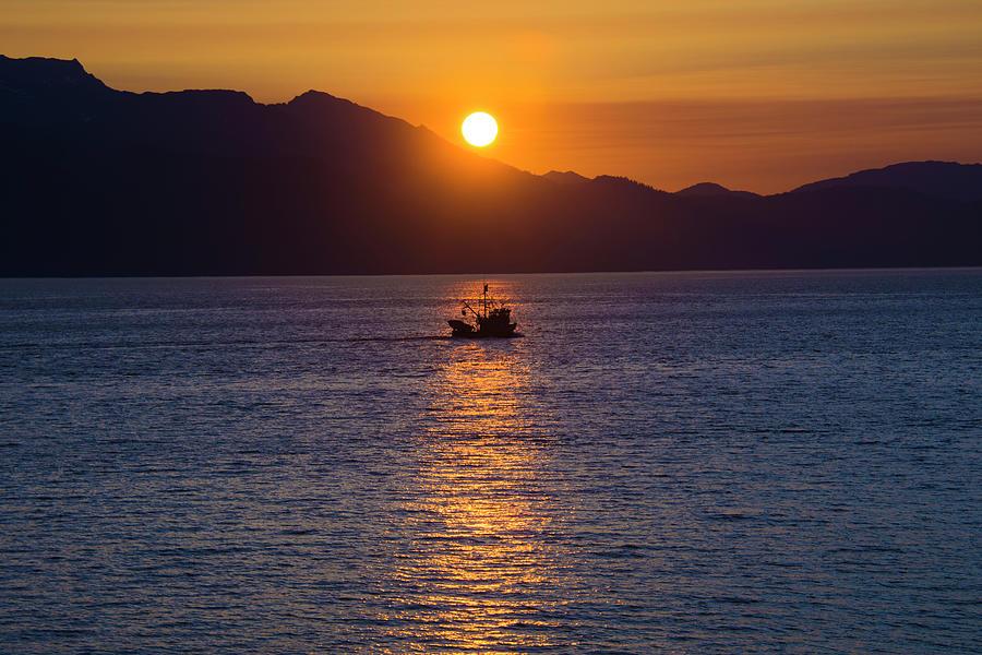 Sunset in Inside Passage Fishing Boat by Yulia Kazansky