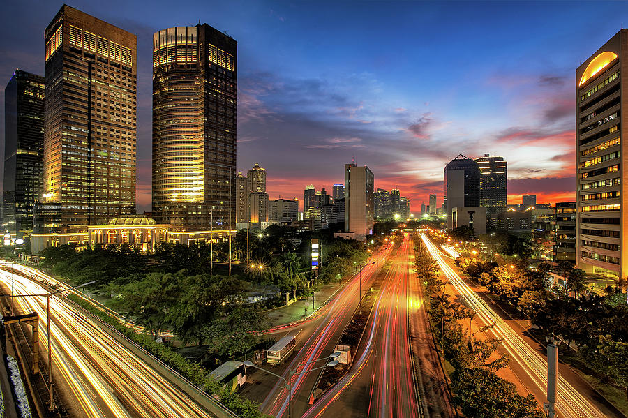 Sunset In Jakarta Photograph by The Trinity