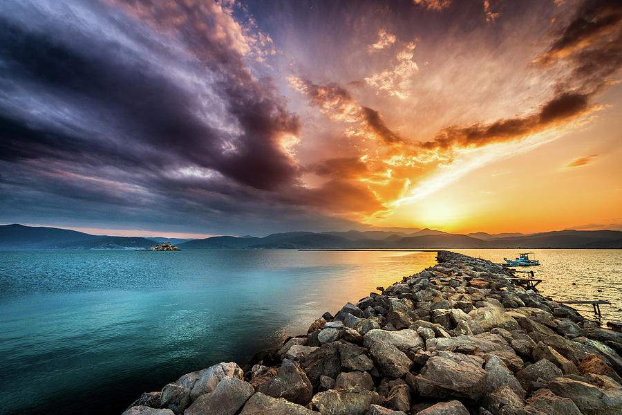 Sunset Photograph - Sunset in Nafplio by Andrei Dima