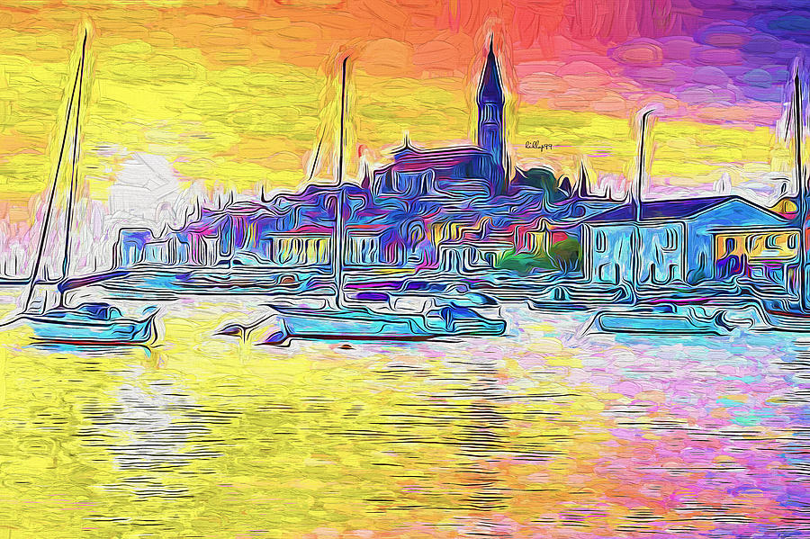 Sunset In Harbor Painting