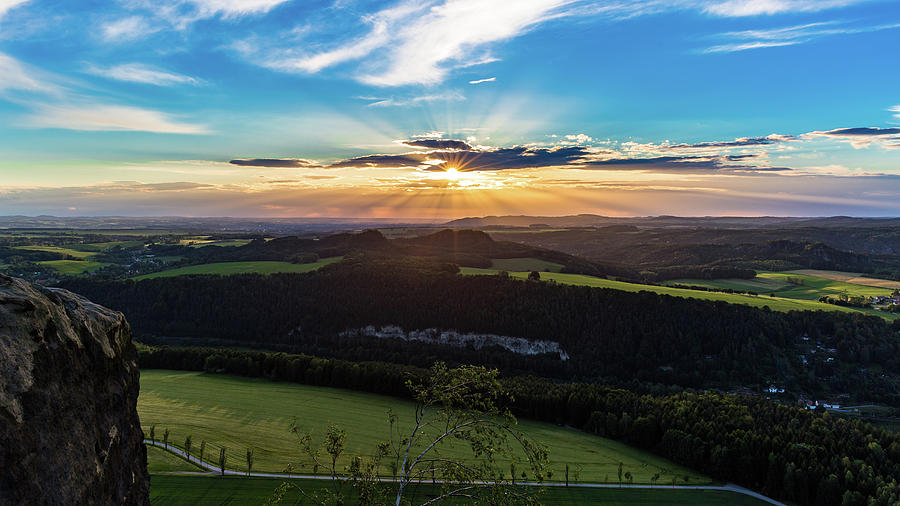 Sunset in Saxon Switzerland, Lilienstein by Andreas Levi
