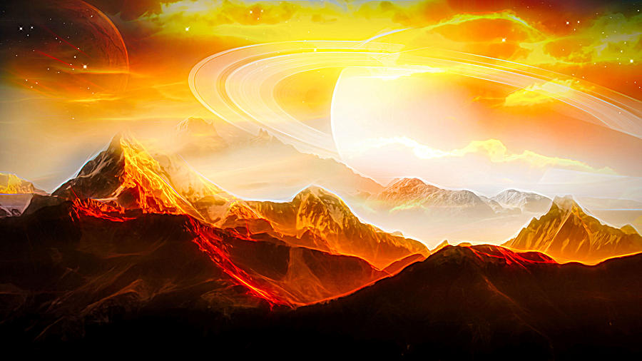 Planets Digital Art - Sunset In The Future by Jasmina Seidl