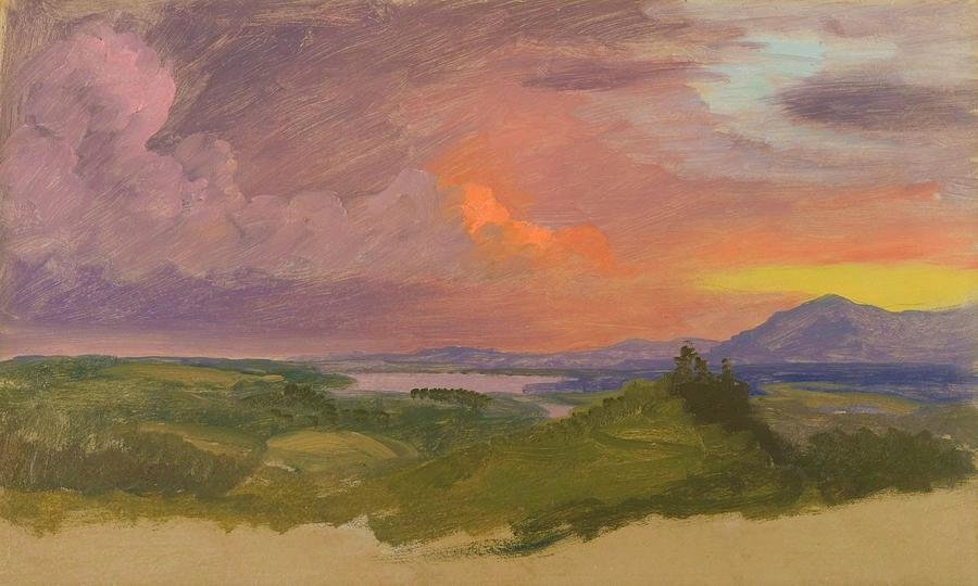 Frederic Edwin Church Painting - Sunset In The Hudson Valley - Digital Remastered Edition by Frederic Edwin Church