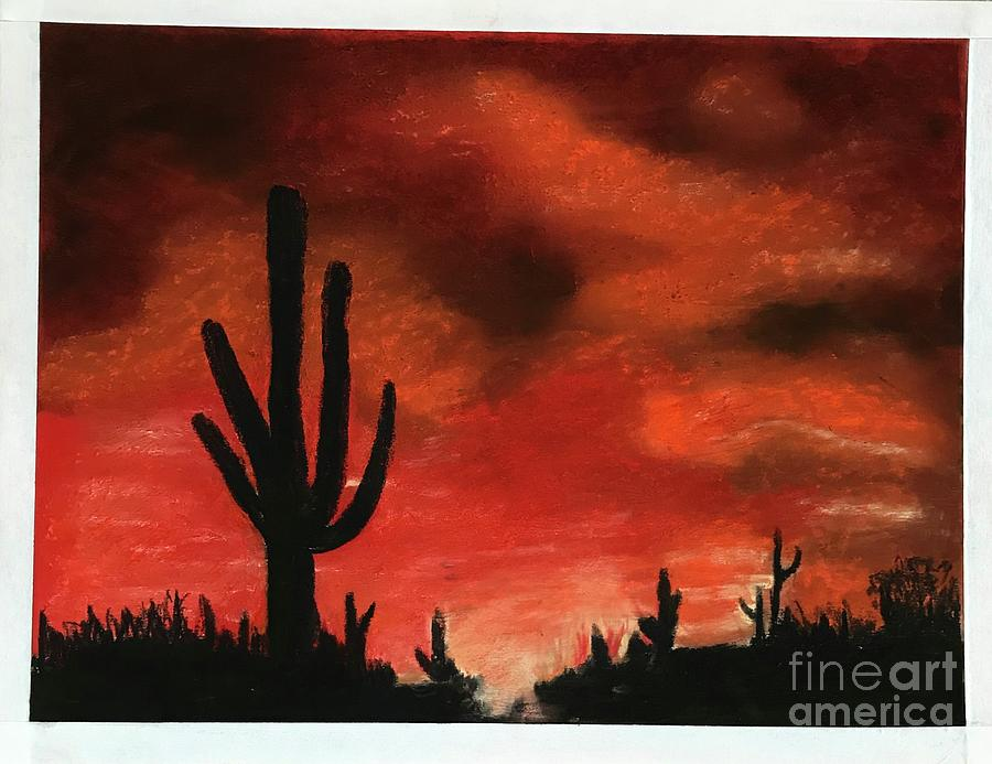 Sunset in Tucson Az by Theresa Honeycheck