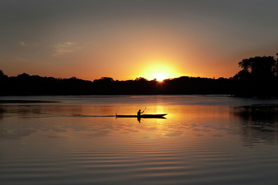 Sunset Kayaking In Lake Of The Isles Photograph by Yinyang