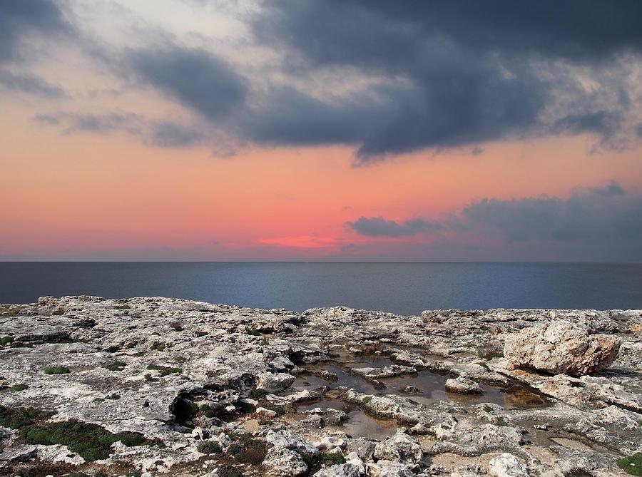 sunset limestone sea by Philip Openshaw