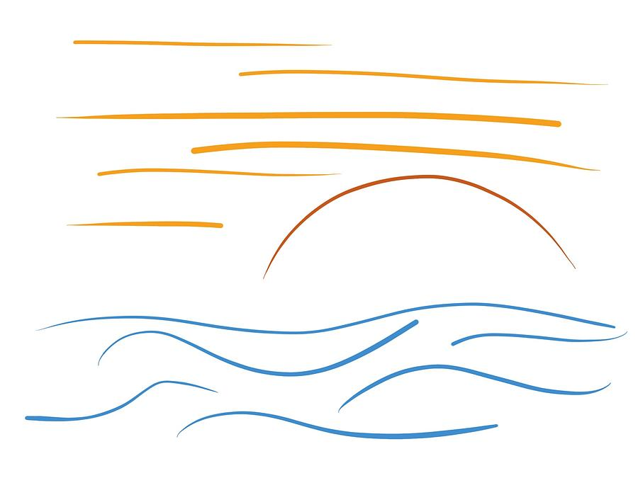 Sunset - Minimal line drawing by Marianna Mills