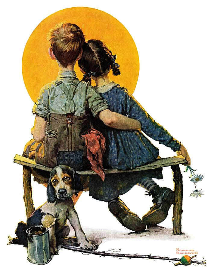 Benches Drawing - Sunset by Norman Rockwell