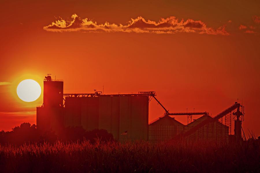 Sunset On Hardin Missouri Elevator Photograph