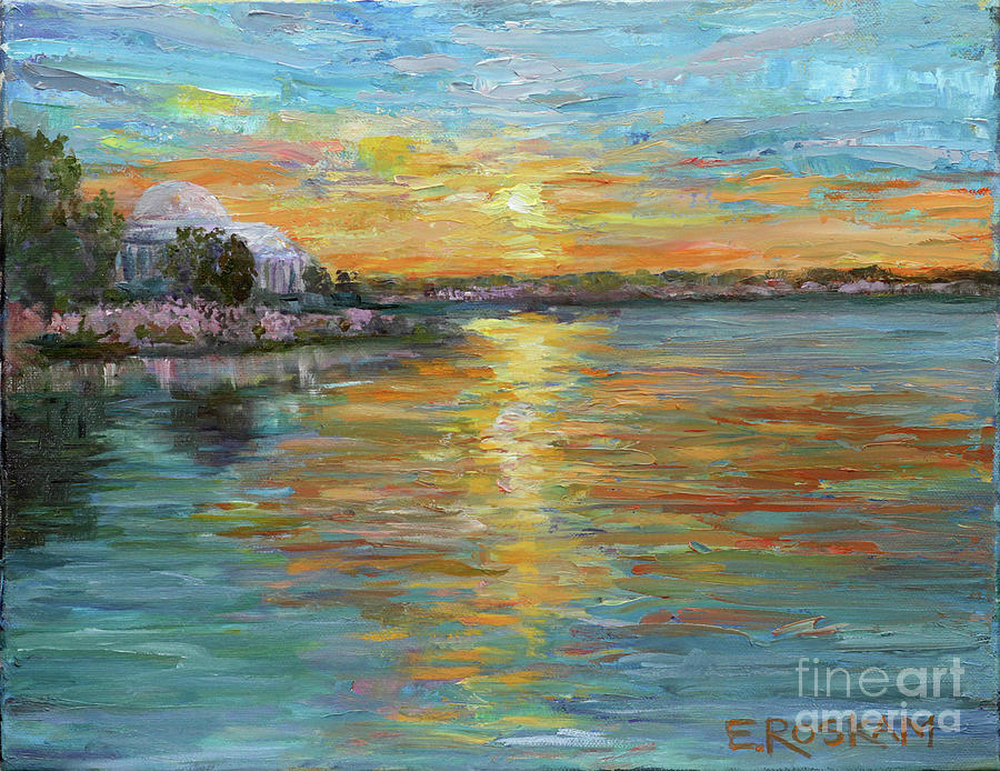 Sunset Painting - Sunset On Jefferson by Elizabeth Roskam