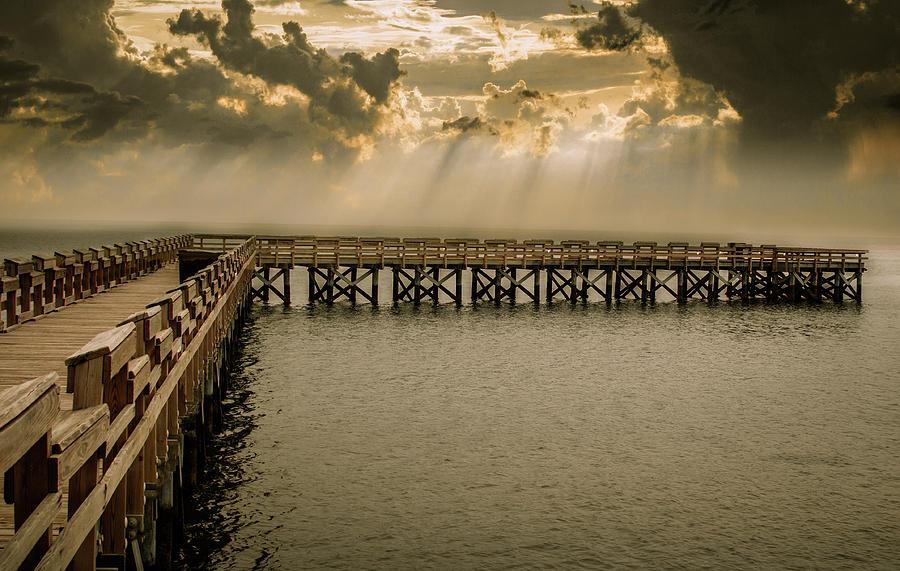 Sunset On Pier Photograph