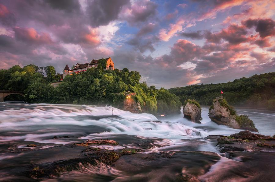 Sunset on Rhine Falls by Dmytro Korol