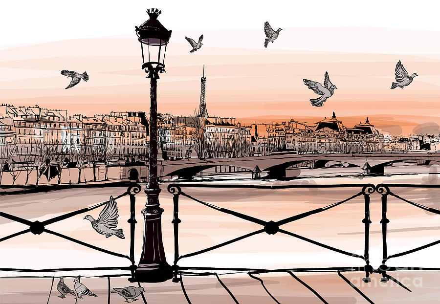 Romance Digital Art - Sunset On Seine River From Pont Des by Isaxar