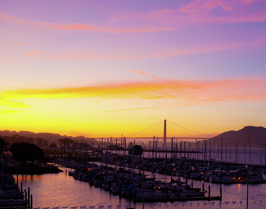 sunset on the bay at fort mason with view of golden gate bridge by Kim Vermaat