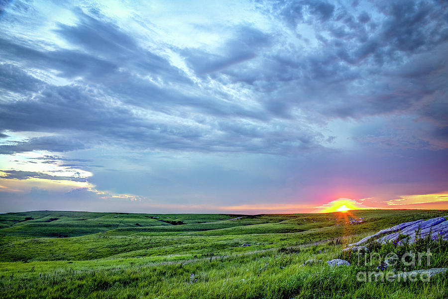 Sunset On The Flint Hills by Jean Hutchison