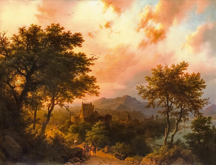 Sunset on the Rhine by Barend Cornelis Koekkoek