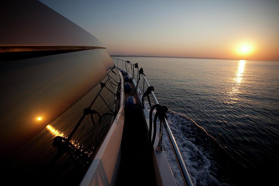 Freight Transportation Photograph - Sunset On Yacht Window by Dogayusufdokdok