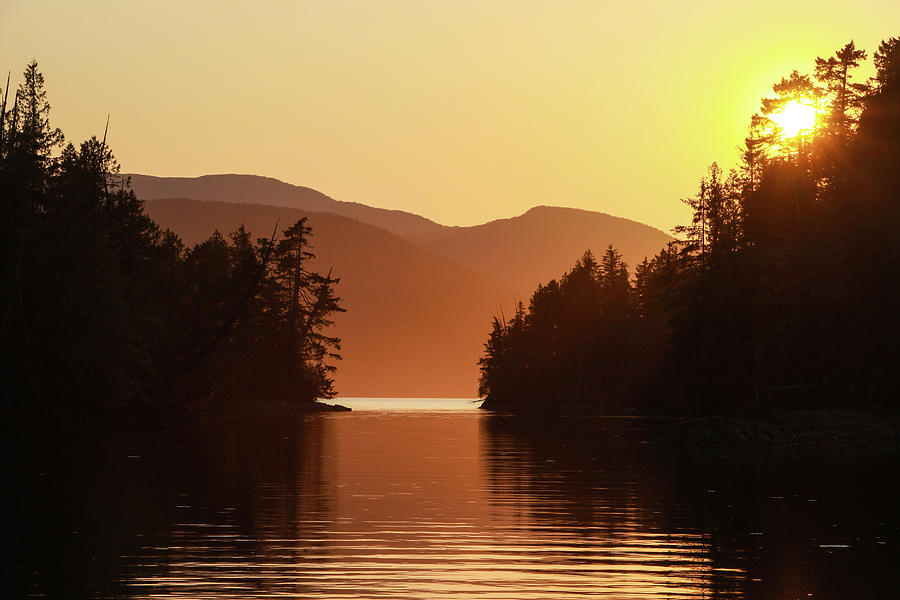 Sunset Over a Peaceful Anchorage in Remote British Columbia by Pacific Northwest Sailing