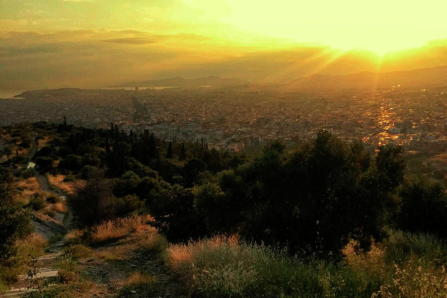 Sunset over Athens Greece by Gerlinde Keating - Galleria GK Keating Associates Inc