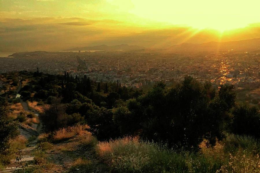 Sunset over Athens Greece by Gerlinde Keating - Galleria GK Keating Associates Inc