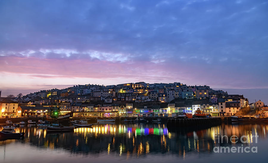 Sunset over Brixham, Devon. by Colin Rayner