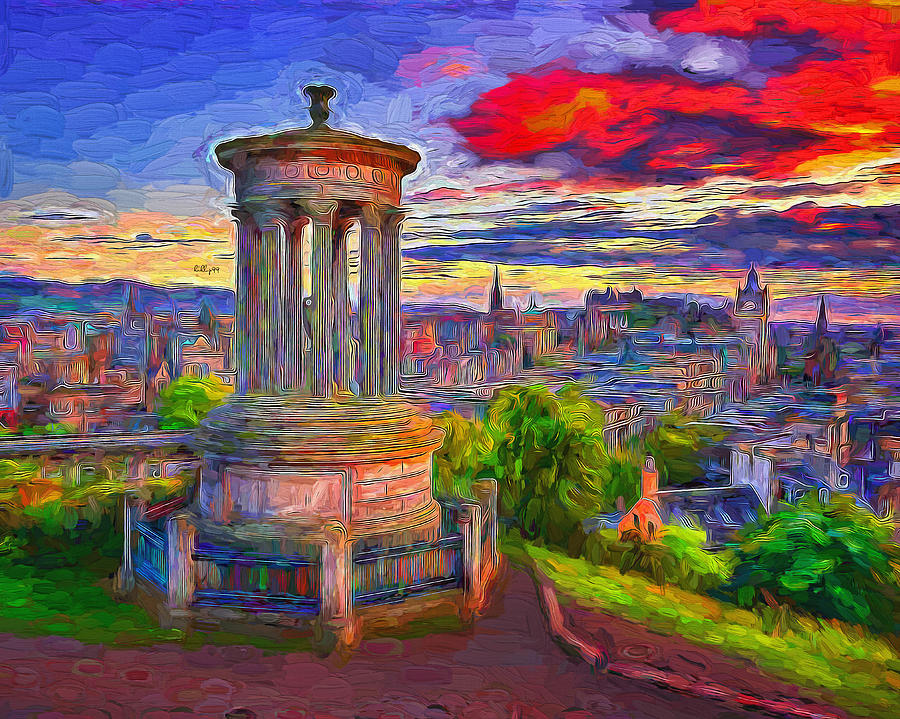 Sunset Over Calton Hill Edinburg Painting