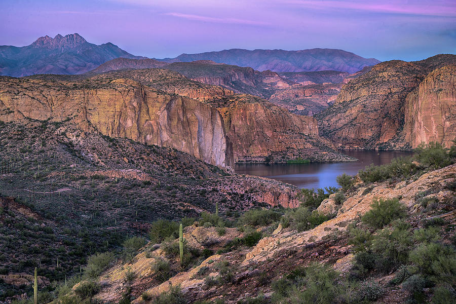 Sunset Over Canyon Lake and Four Peaks by Dave Dilli