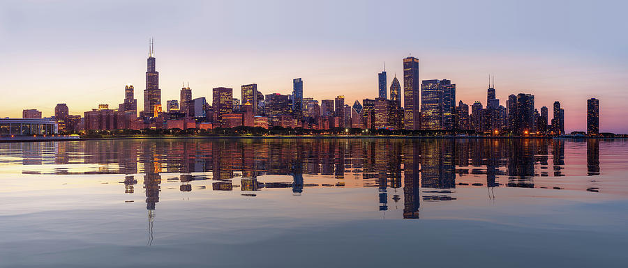 Sunset over city skyline Chicago from Observatory by Steven Heap
