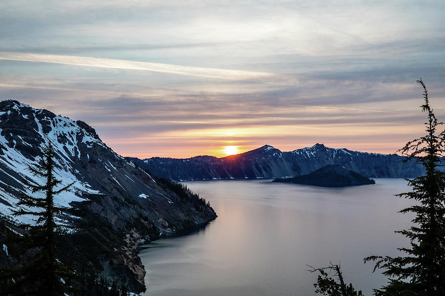 Landscape Photograph - Sunset over Crater Lake by M C Hood