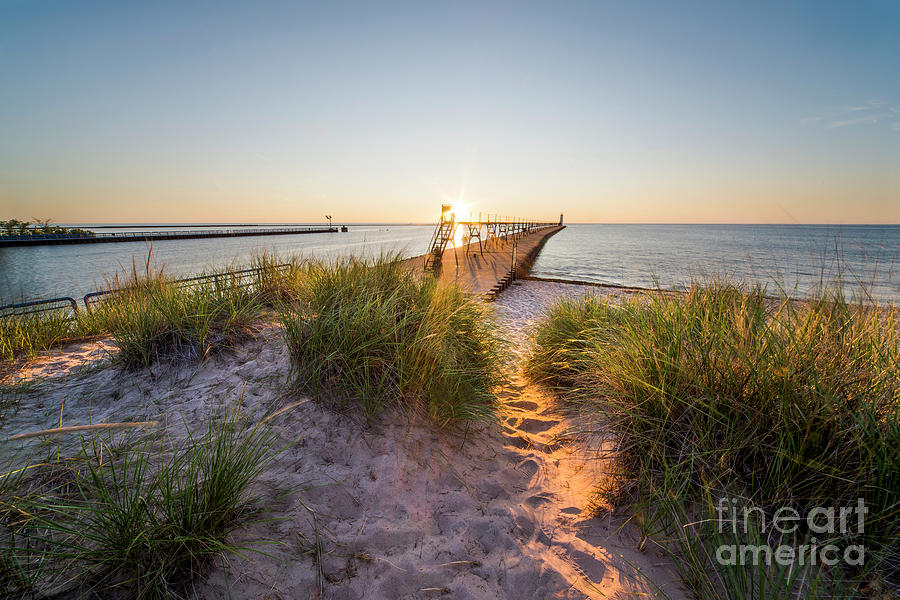 Manistee Photograph - Sunset Over Dunes And Pier by Twenty Two North Photography