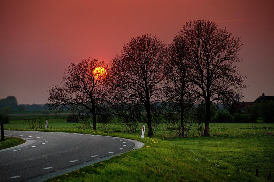 Sunset Over Dutch Countryside Photograph by Tjarko Evenboer / The Netherlands