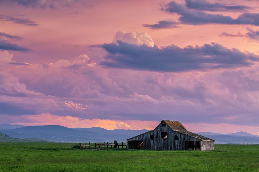 Sunset Over Gable Barn by Denise Bush