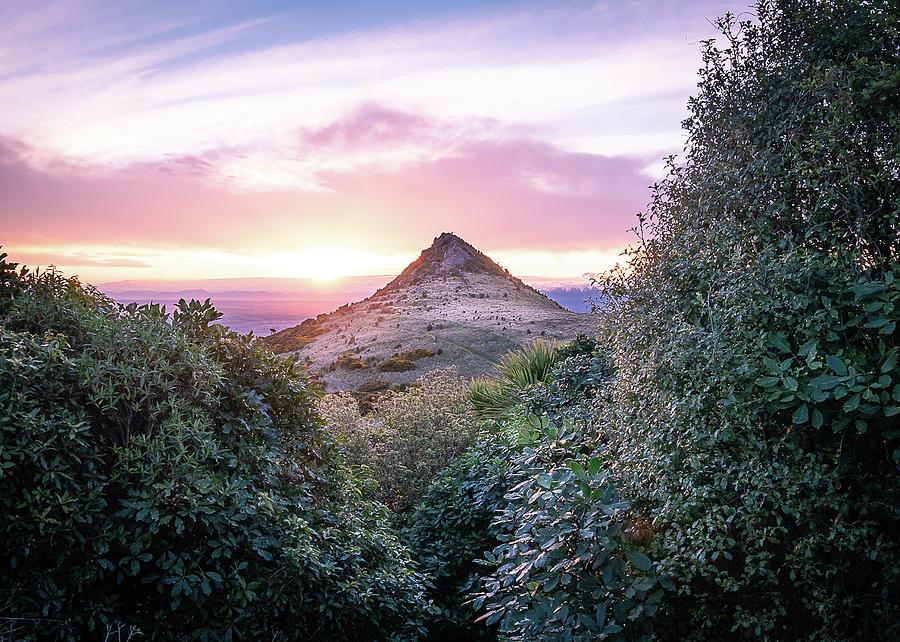 Sunset Over Port Hills Gibraltar Rock In New Zealand II by Peter Kolejak