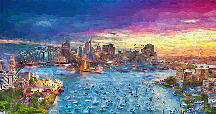 Sunset Over Harbor Painting