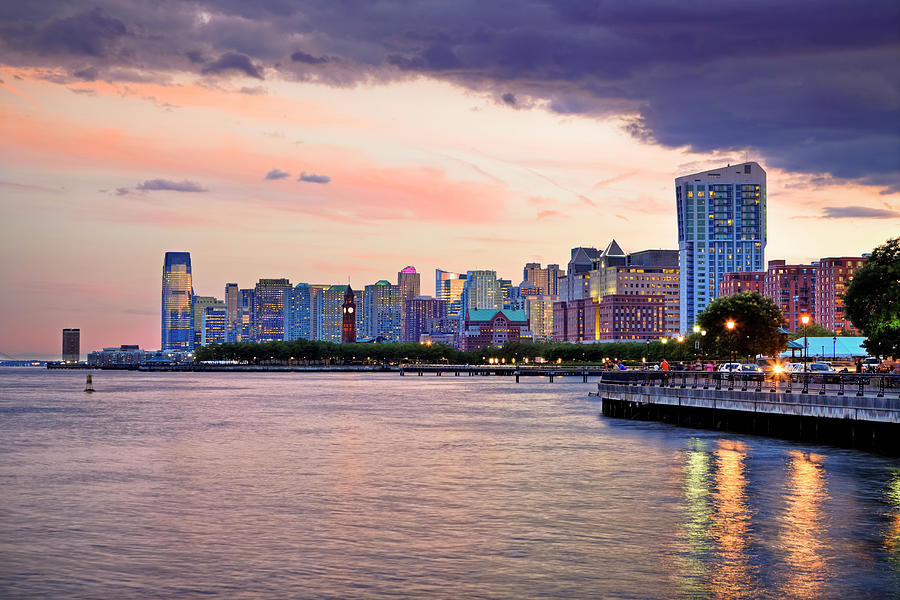 Sunset Over Jersey City, Nj Photograph by Espiegle