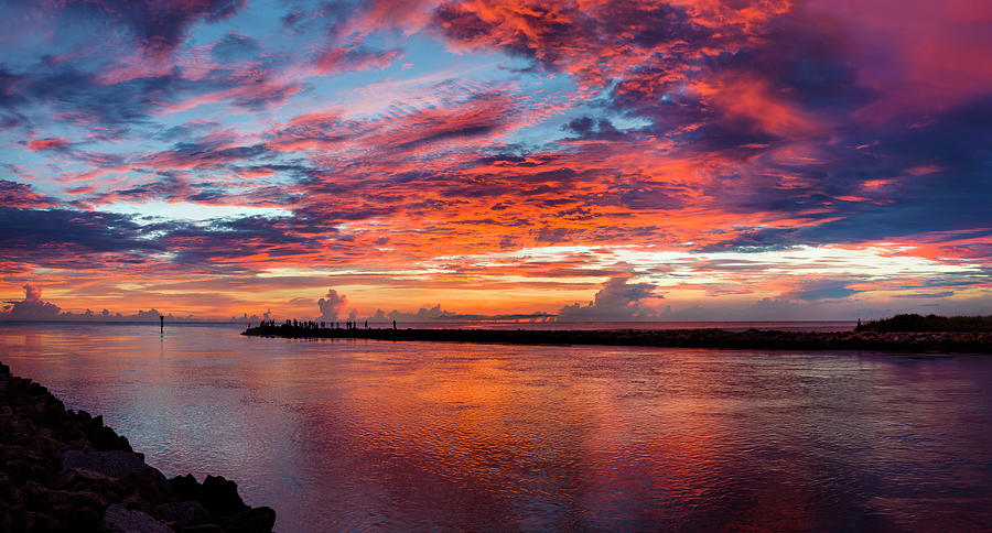Horizontal Photograph - Sunset Over Jettys And Channel by Panoramic Images