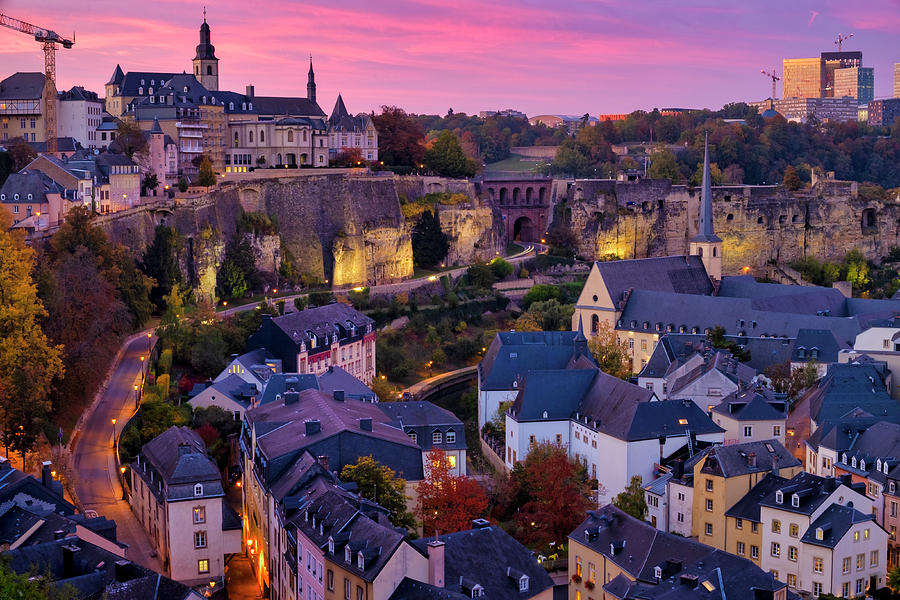 Sunset Over Luxembourg City Photograph by Fabrizio Troiani